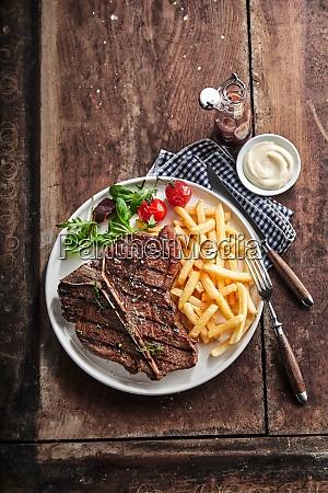 grilled lean t bone steak with