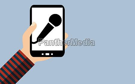 smartphone sprachaufnahme mit mikrofon flat
