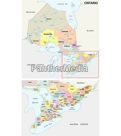 ontario administrative und politische karte kanada