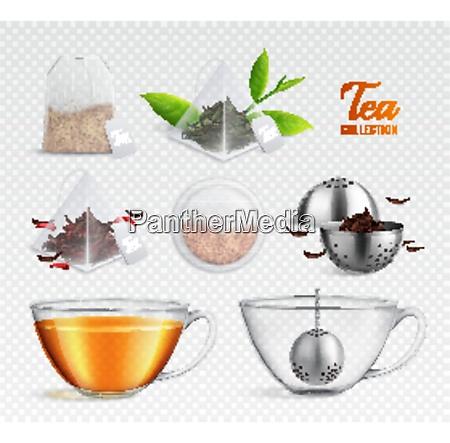 tea brewing bag realistic transparent icon