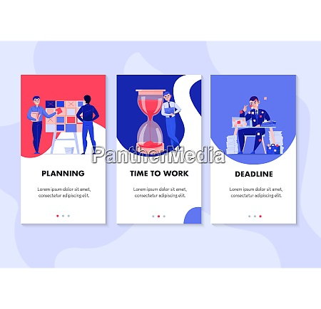 time management 3 flat vertical banners