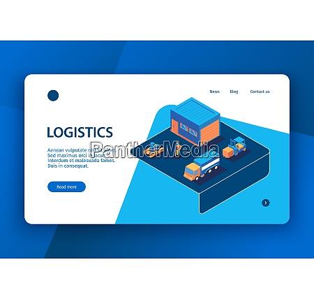 isometric logistics concept banner landing page