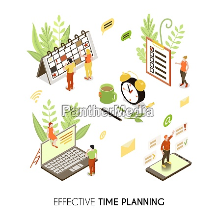 effective time planning isometric background with