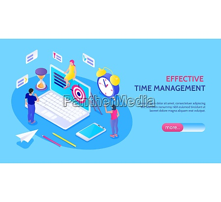 effective time management horizontal banner with