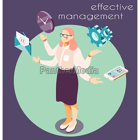 effective management isometric background with circle