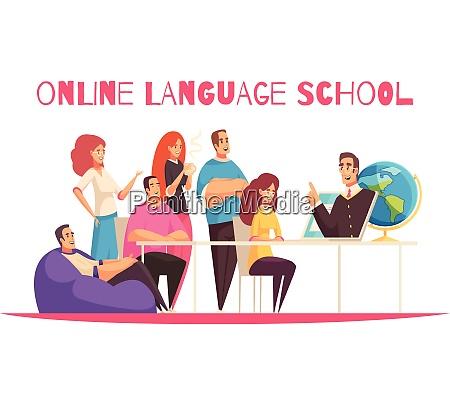 online sprache schule flache cartoon horizontale