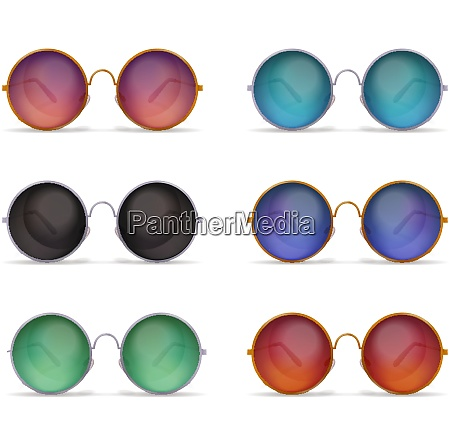 set of isolated sunglasses realistic images