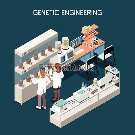 genetisches isometrisches konzept mit wissenschaftlern und