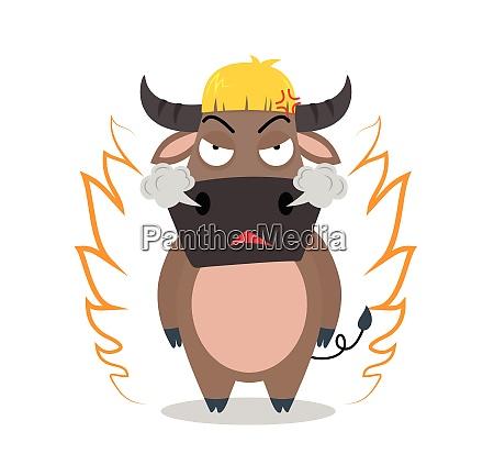 angry buffalo cartoon character on white