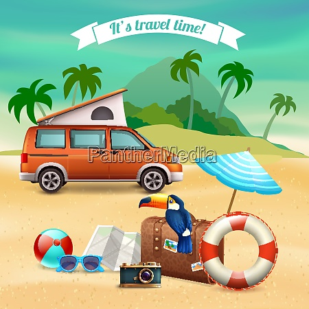 summer realistic holidays poster with touristic