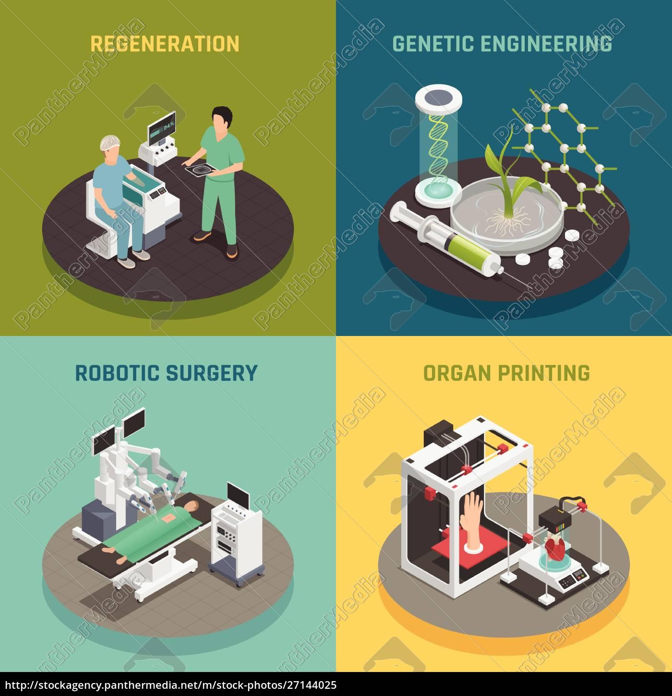 zukünftige, medizinische, technologien, konzept, 4, isometrische - 27144025