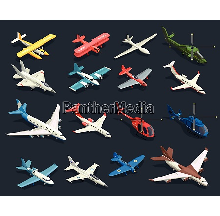 set of isometric icons airplanes and
