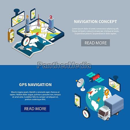 navigation horizontal banners set with gps