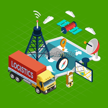 navigation concept with logistics and satellite