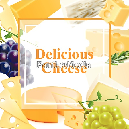 realistic cheese of various kind with