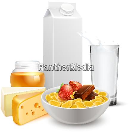breakfast with cereals in bowl milk