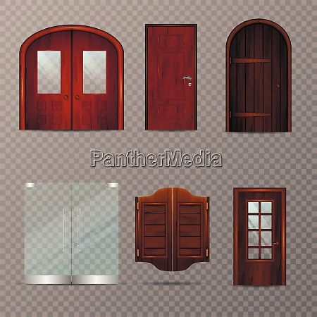 entrance doors set of realistic 3d