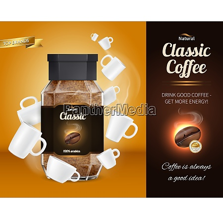 natural classic coffee advertisement realistic composition