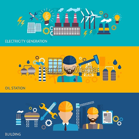 industrielle banner gesetzt mit fabriken und
