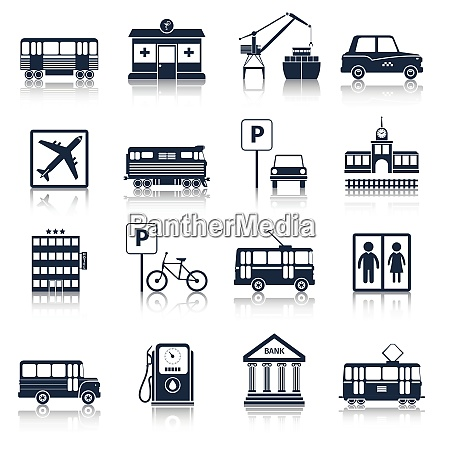 city, infrastructure, icons, black, set, with - 27146142