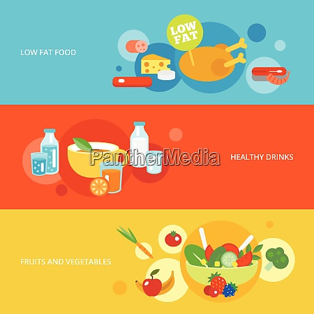 healthy eating flat banner set with