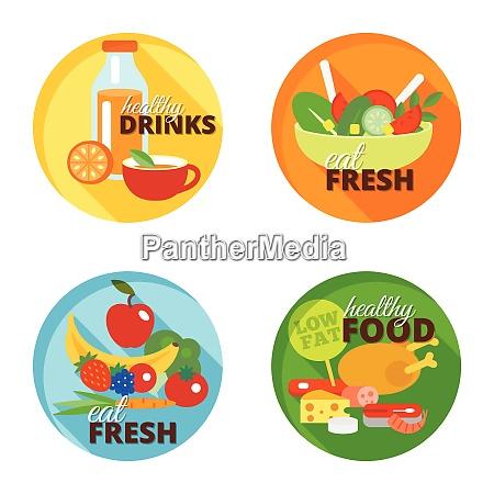 healthy eating flat decorative icons set