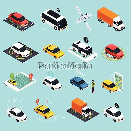 autonomous vehicle isometric icons set of