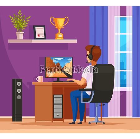 cybersport gaming charakter cartoon komposition mit