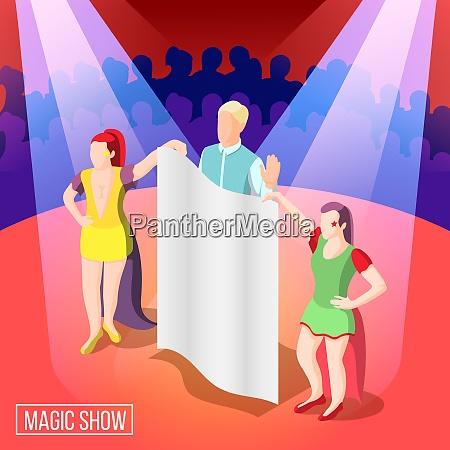 magische show isometrischen hintergrund illusionist hinter
