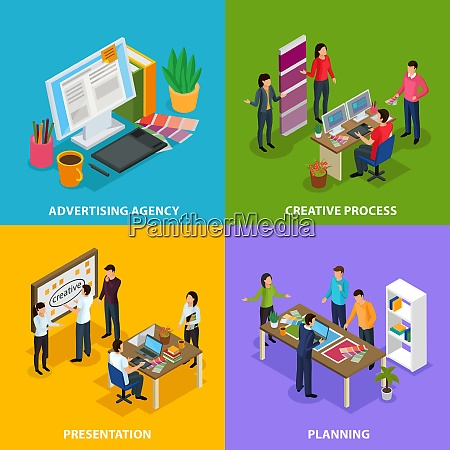 advertising agency isometric design concept with