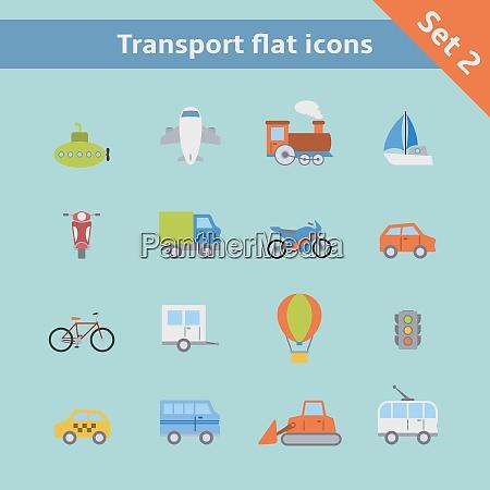transportation flat icons set of passenger