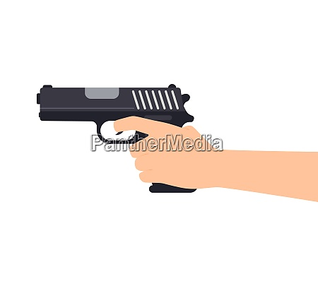 vector illustration of hands holding gun