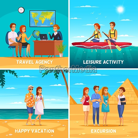 travel agency 2x2 design concept with