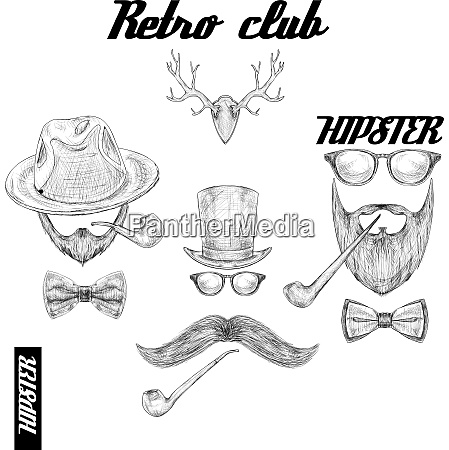 retro hipster club accessories set for