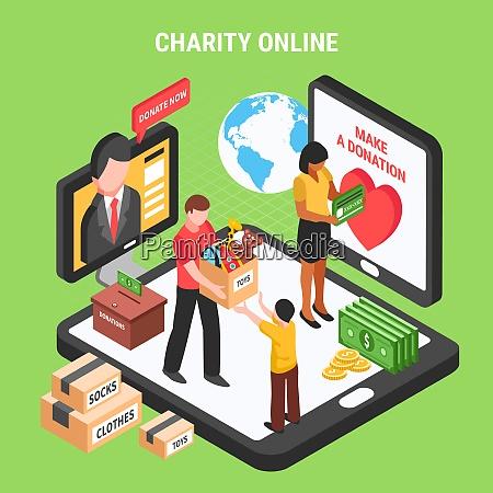 charity online isometrische zusammensetzung mit freiwilligen