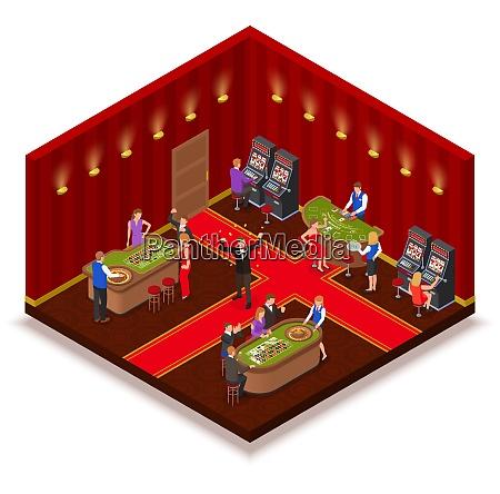 casino raum isometrische ansicht mit spielautomaten