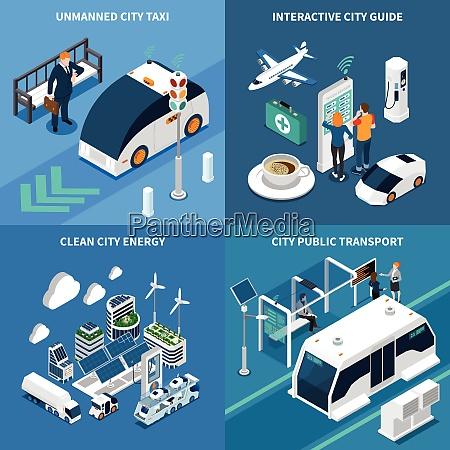 smart city isometrische konzept symbole mit