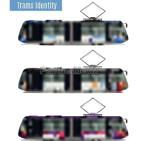 passenger tram train realistic mockup set