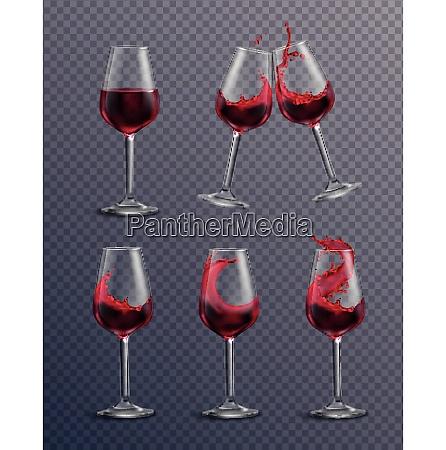 wine splash glass realistic transparent collection