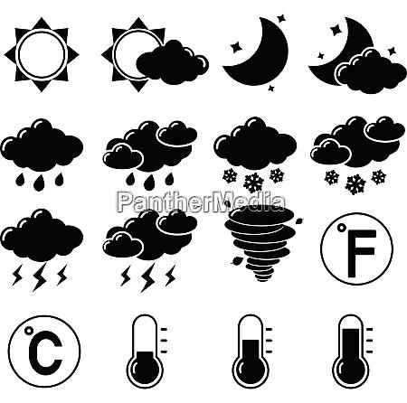 wettervorhersage symbole schwarze piktogramme satz von