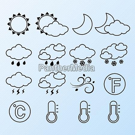 wettervorhersage symbole kontur piktogramme satz von