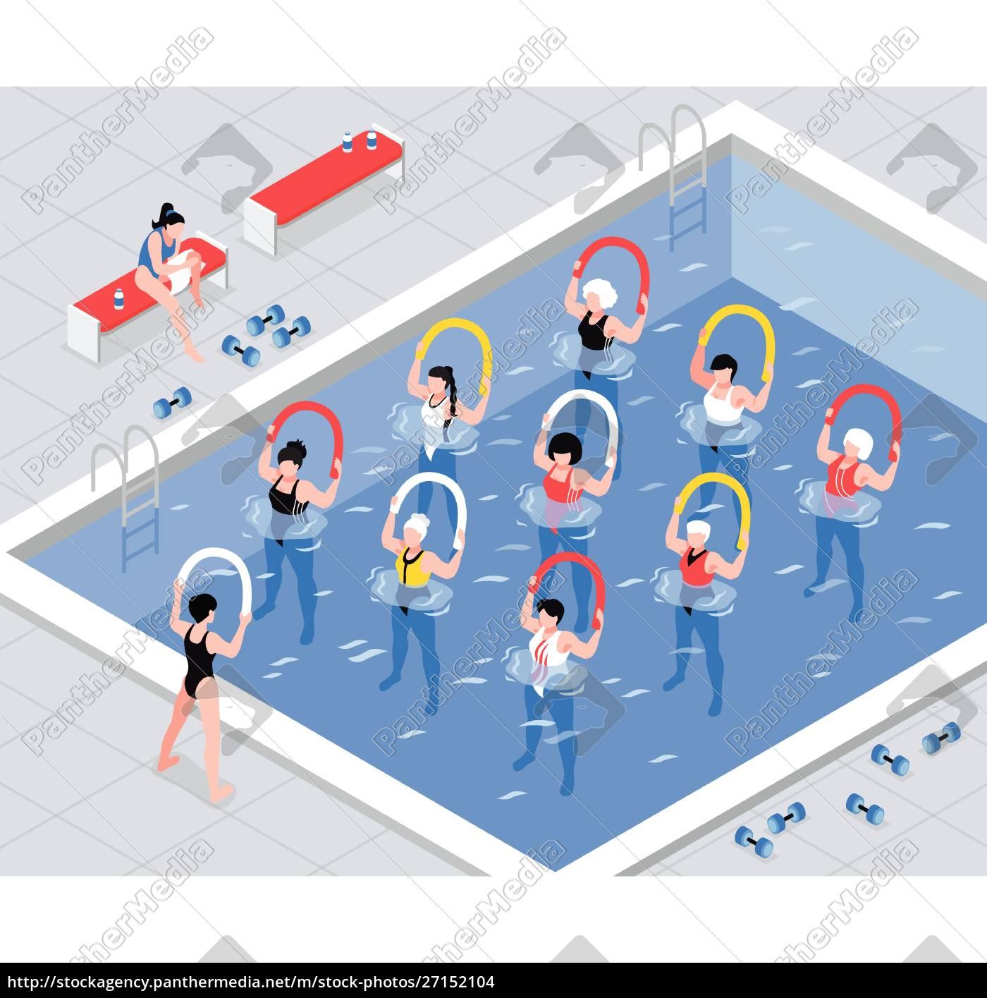wassergymnastik-klasse, frauengruppe, bei, Übungen, mit, geräten - 27152104