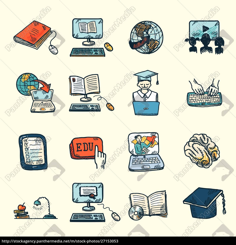 farbige, online-bildungsabschluss, und, e-learning-symbole, skizze, set - 27153053