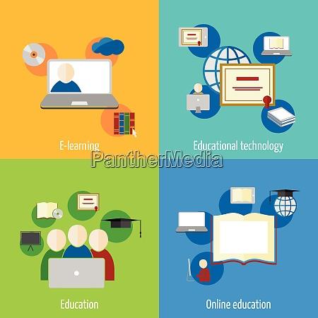 online bildung e learning flat webinar