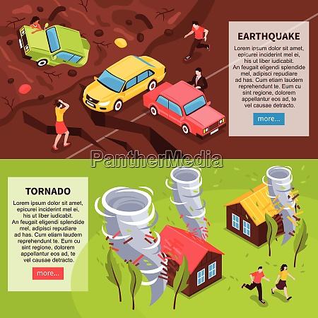 naturkatastrophe horizontale banner mit erdbeben und