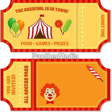 zwei vintage zirkus tickets mit clown