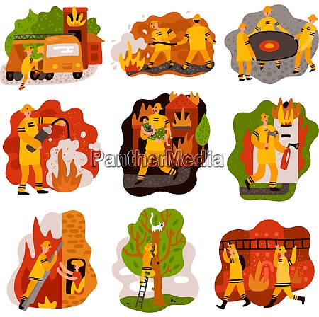 fire fighting set of flat compositions