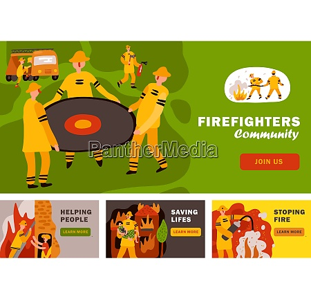 fire fighting horizontal flat banners with