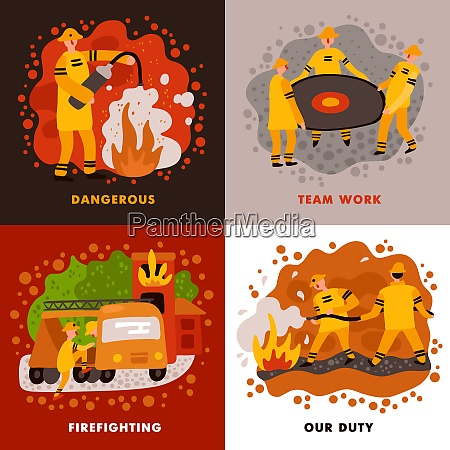 fire fighting flat design concept dangerous