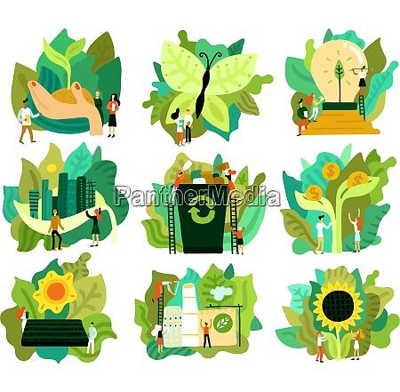 OEkologische restaurierung satz von flachen ikonen
